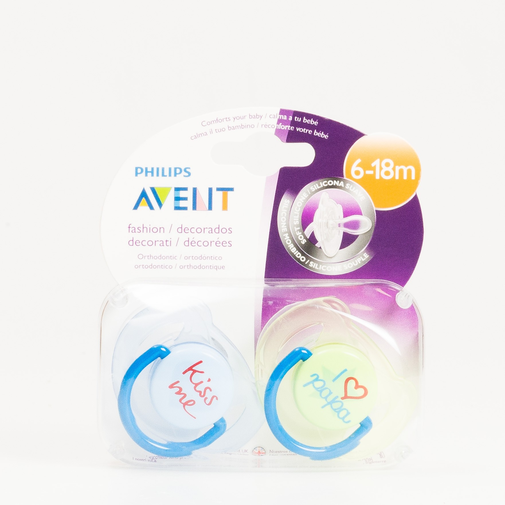 Avent Chupetes Silicona 6-18 m Papa, 2 uds.
