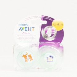 Avent Classic Chupetes 0-6 m Verde, 2 Uds.