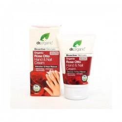Dr Organic Crema de manos y uñas Rose Otto, 125ml.